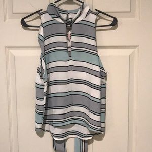 (F21) New Mint striped Sleeveless Top
